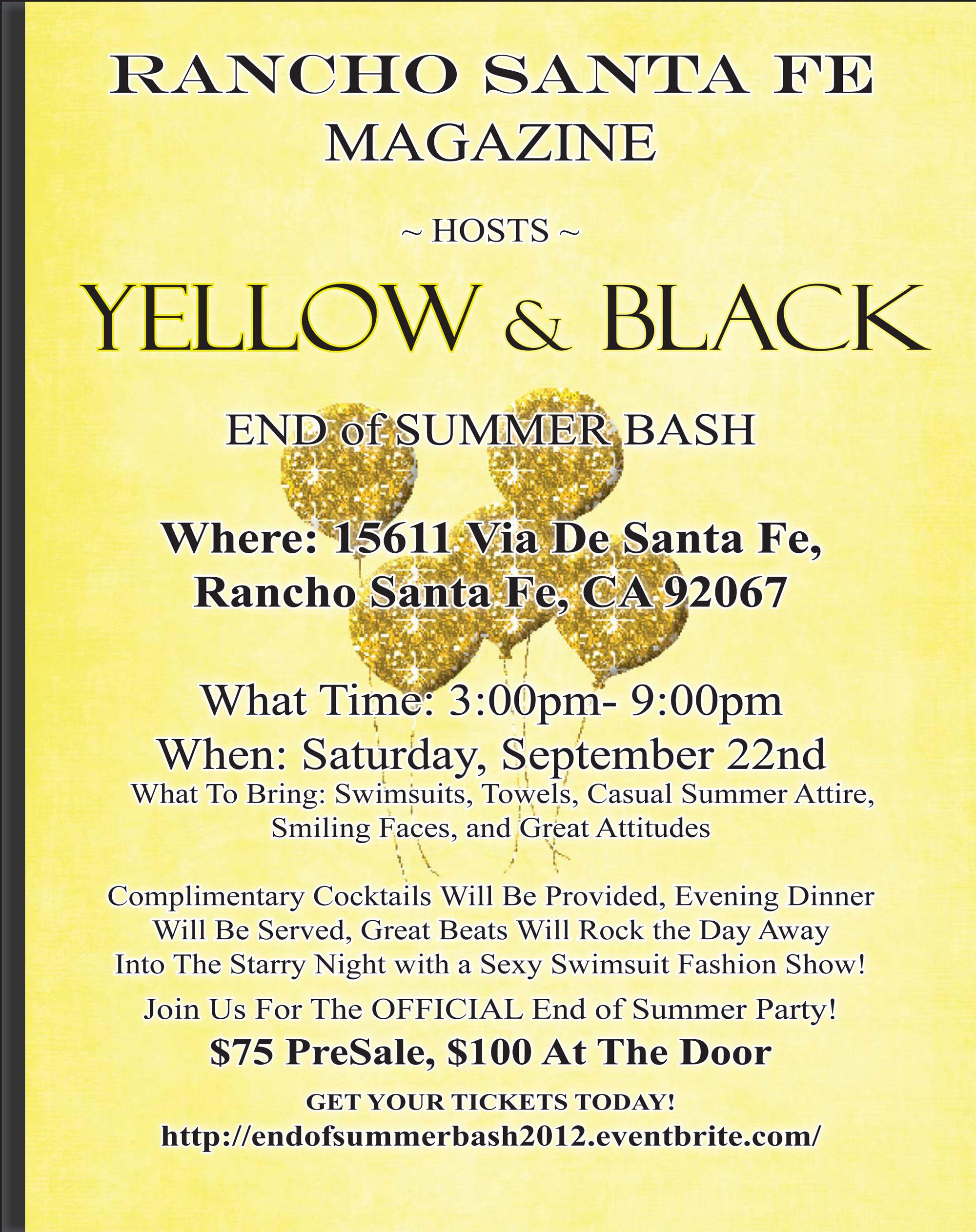 Yellow and Black End of Summer Bash - Rancho Santa Fe Magazine