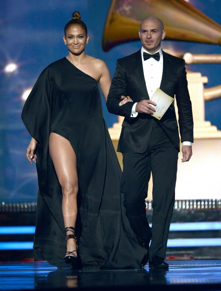 Jennifer Lopez and Pitbull onstage at the 55th Annual GRAMMYS Awards on Feb. 10 in Los Angeles