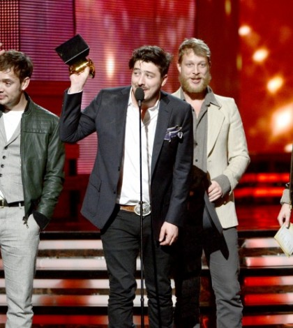 Mumford & Sons accept the Album Of The Year 2013 GRAMMYS for Babel on the 55th Annual GRAMMY Awards on Feb. 10 in Los Angeles